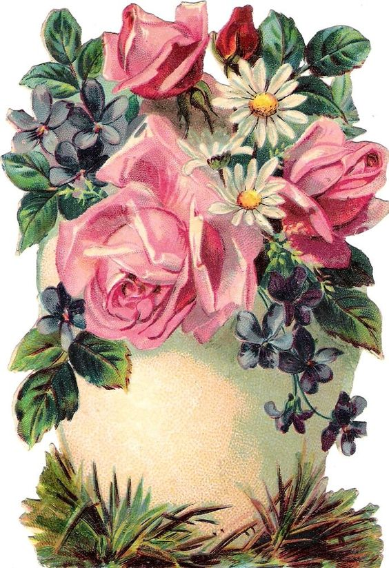 Oblaten Glanzbild scrap die cut chromo Oster Ei 14cm easter egg violet flowers: