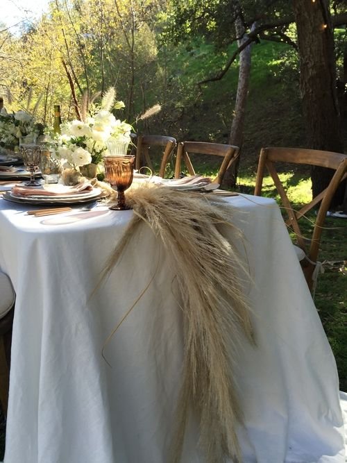 Pampas grass vintage table Baby's First Birthday Party