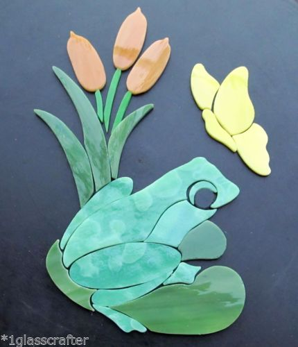 Frog on lily pad with cattails and butterfly precut ...