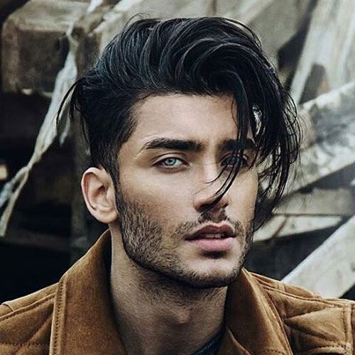 Messy Long Hair With Taper Fade And Bangs Menshairstylesfade Long Hair Styles Long Hair Styles Men Curly Hair Men