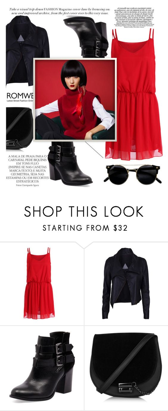 """ROMWE: Red Chiffon Dress"" by avete ❤ liked on Polyvore featuring Magdalena and Bonbons"