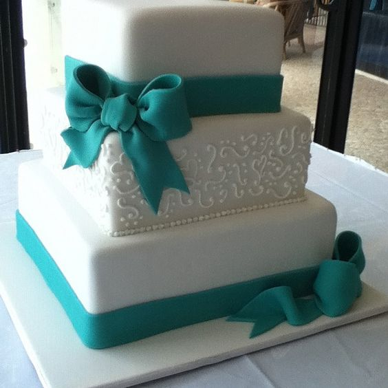 Square Wedding Cake Ideas: Teal Bow Wedding Cake Three Tiered Square