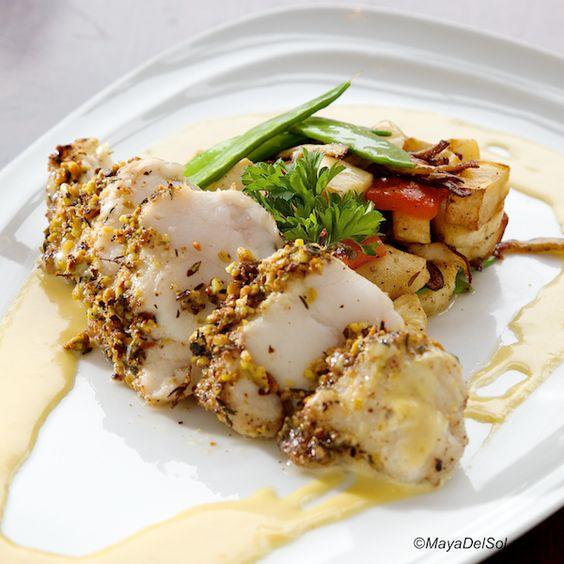 pescado del dia | pistachio crusted monkfish, vegetable medley, saffron beurre blanc