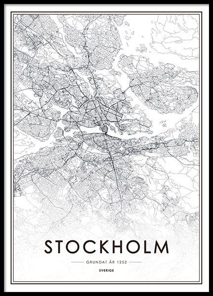 Tavla, poster med Stockholm karta. Snygg affisch med stadskarta över Stockholm. Från 129kr.: