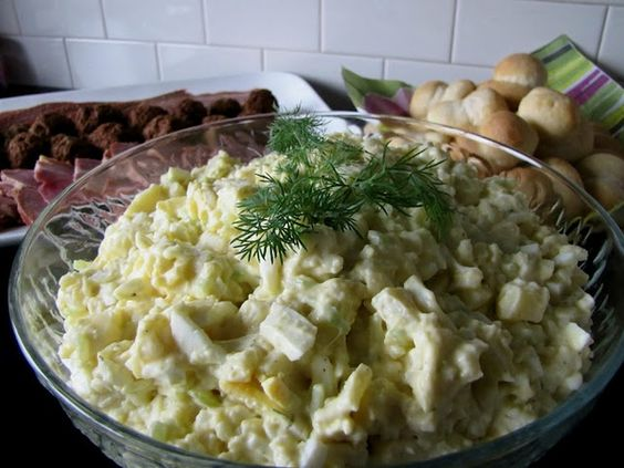 Potato Salad* 7-8 c potatoes peeled, cooked  cubed,  10 hardboiled eggs peeled  chopped  1/2 c celery finely chopped ,  1/3 c green onions finely chopped ,  1 1/2 c Miracle Whip salad dressing ,  1 Tb prepared mustard ,  1/2 Tb salt ,  1/4 tsp pepper ,  1 Tb vinegar ,  Combine potatoes, eggs, celery  onions in lg bowl.   Mix remaining ingredients together well  pour over potato mixture stirring until combined.   Cover  chill until serving.    Mennonite recipe,also recip