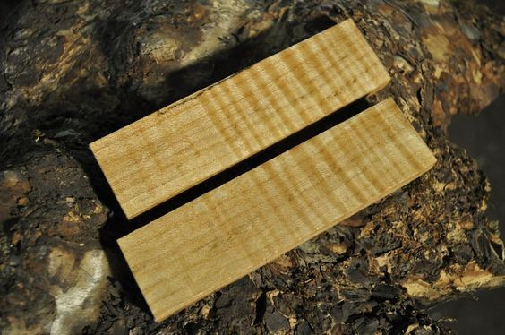 """2 Piece Maple Knife Handle Scales 5.5"""" x 1.5"""" x .375"""" each/ Woodworking Supply"""