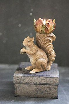 Cute Resin Squirrel Leaves Tealight Candle Holder Country Cabin Fall Home Décor