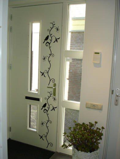 Vinilo para pared con motivos florales en color blanco y negro decoracion cuarto pinterest - Paredes decoradas con vinilos ...