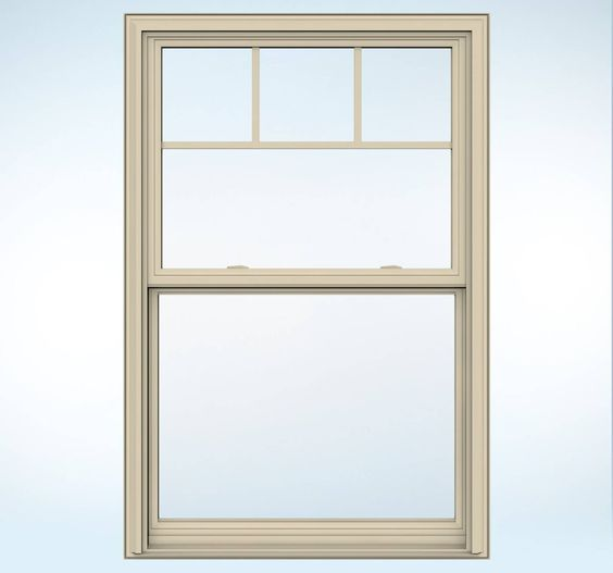 Almond trimmed window with craftsman details builders for Vinyl windows and doors