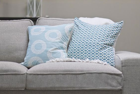 love this grey color with my favorite beachy color!!  Redo Atticus chair?