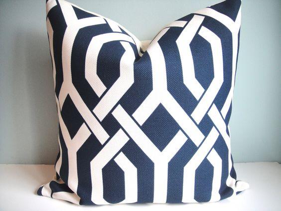Ready made pillow   SET Of TWO-Indoor/Outdoor 20x20 Designer Pillow P Kaufmann In Slick  / Navy