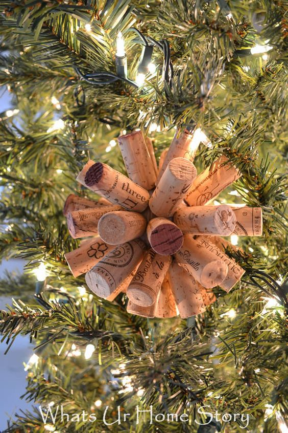 Save up your corks to make this easy cork ball ornament - Whats Ur Home Story: