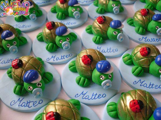 tartarughe in fimo per un battesimo