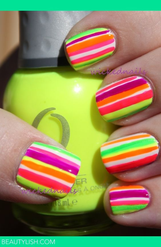 Cute summer nails Neon Stripes | Rylee W.\'s Photo | Beautylish ...
