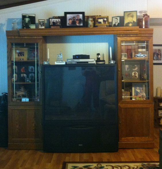 Tv enclosed in big bookcase