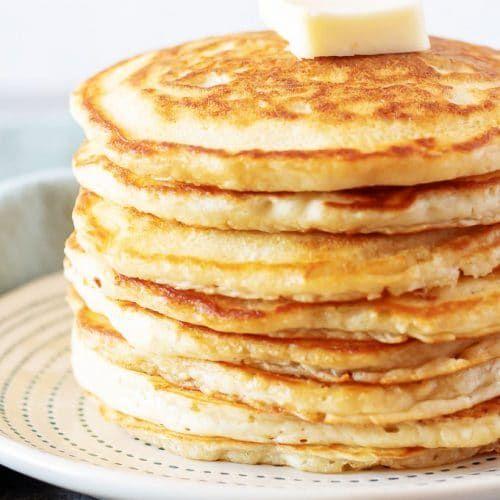 A Simple Photo Of The Finished Fluffy American Pancakes On A Plate With Butter American Pancakes Pancakes Food
