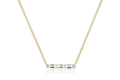 EF Collection Diamond White Topaz Baguette Mini Bar Necklace Yellow Gold