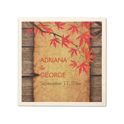 Fall red maple leaves and parchment wedding disposable napkins