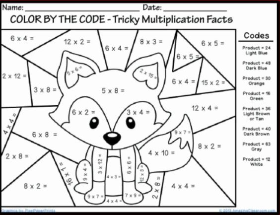 Printables Free Printable Multiplication Color By Number Worksheets math coloring worksheets and pages on pinterest multiplication printable 2