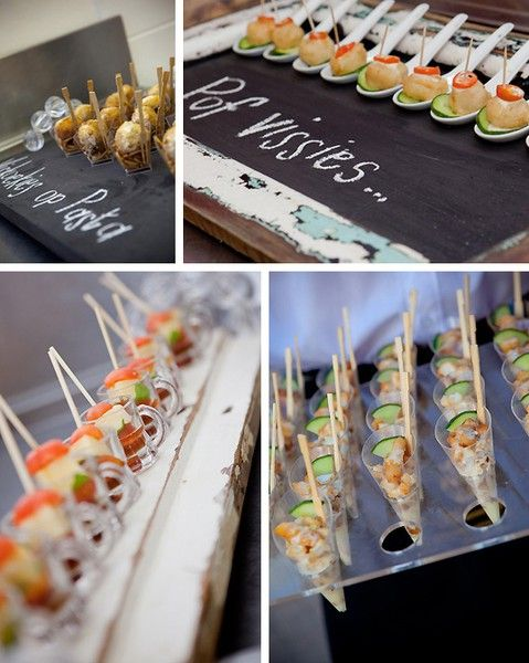 Hors doeuvres presentation party idea pinterest for Cheap wedding canape ideas