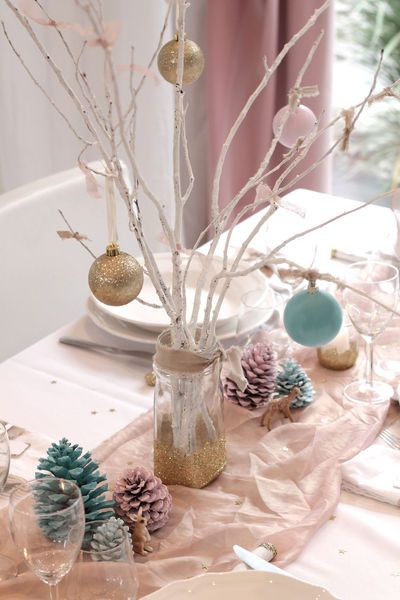 D co de table de no l diy pas cher et facile pastel - Decoration table de noel pas cher ...