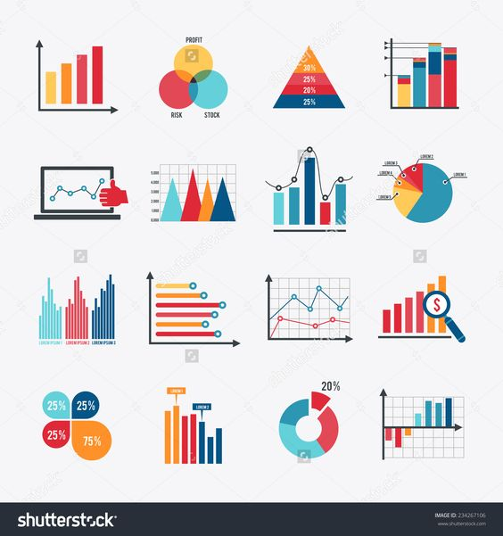 Documents with Pie Charts and Graphs Pie charts, Vector shapes - graphs and charts templates
