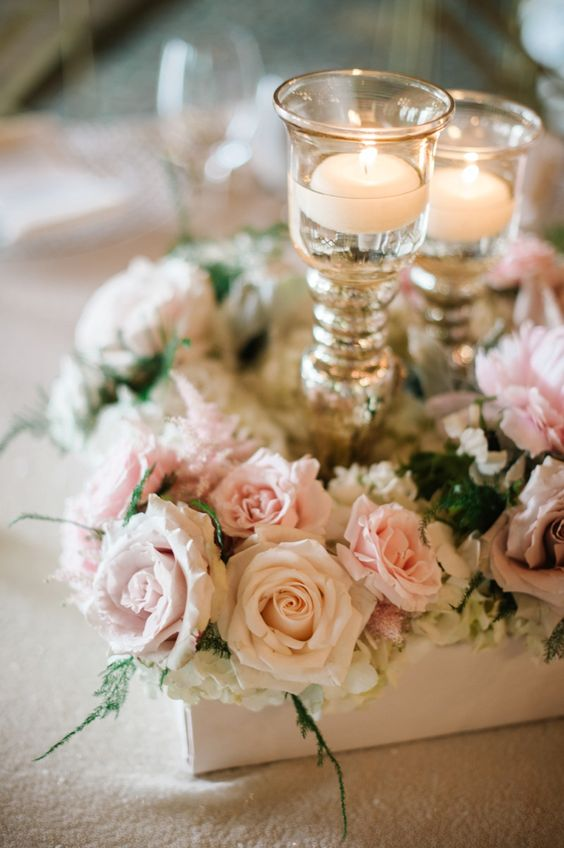 Blush, Champagne and Low centerpieces on Pinterest