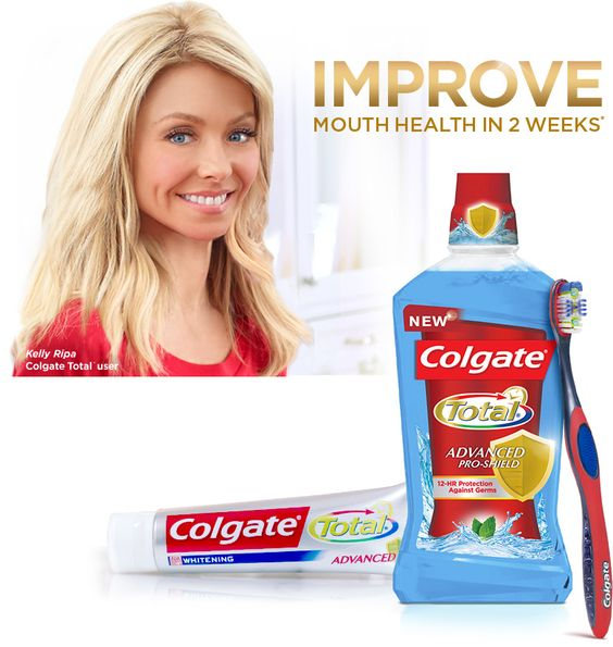 Colgate Total - Fights Germs, Strengthens Enamel, Improves Gum Health It kills 99% of germs on contact and keeps working for 12 hours—even after eating and drinking.