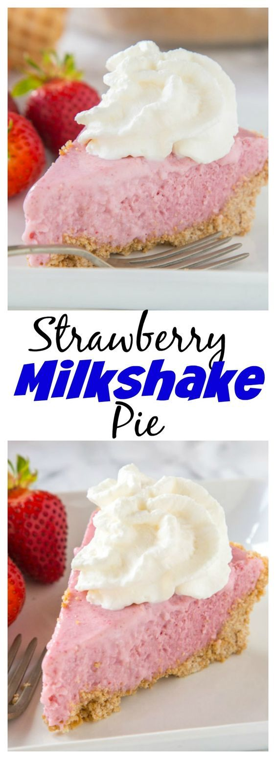 Strawberry Milkshake Pie – turn a classic strawberry milkshake into a creamy and delicious frozen pie!  Complete with a waffle cone crust!