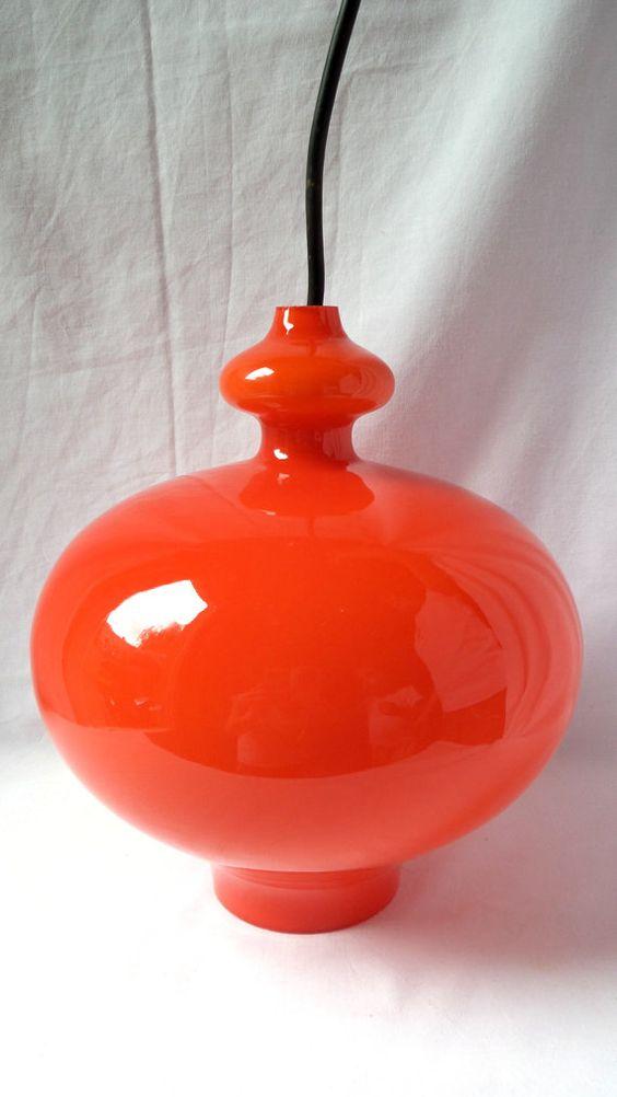 Orange suspension 1970 opaline / chandelier by LaptiteGermaine