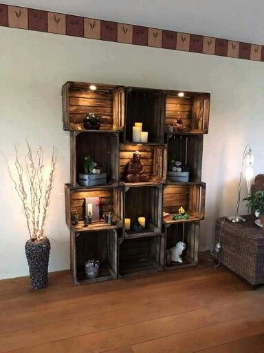 Crates used for shelving/storage