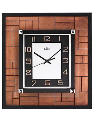 Bulova Corydon Square Wall Clock - Metallic Copper Finish - Rose Gold Numerals