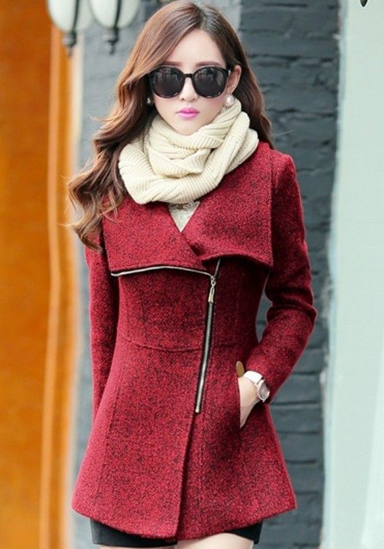 Red Plain Pockets Tweed Coat:
