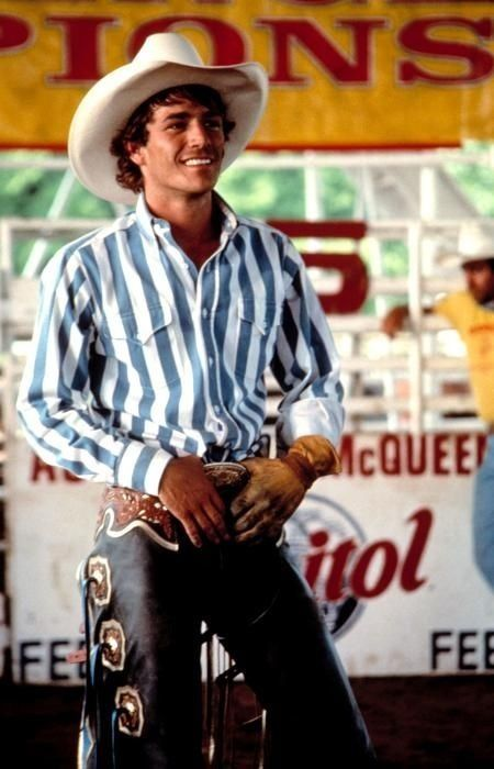Young Luke Perry as Lane Frost in 8 Seconds.