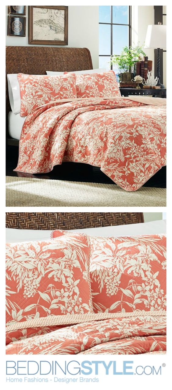 Tommy Bahama Orchid Retreat Quilt. #BeddingStyle #bedroom #TommyBahama #floral #bedding