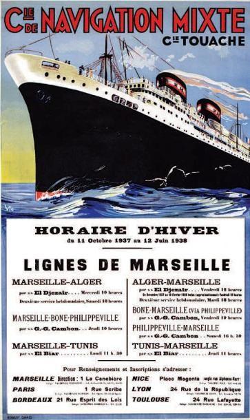 bateau - Cie de Navigation Mixte - Cie Touache - illustration de  Vic - Lignes de Marseille - horaire d'hiver 1937- 1938