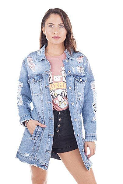 lange jeansjacke damen destroyed