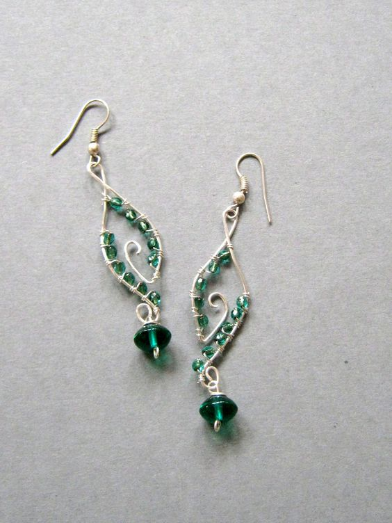 Handmade Wire Wrapped Earrings Green Dangles Handmade