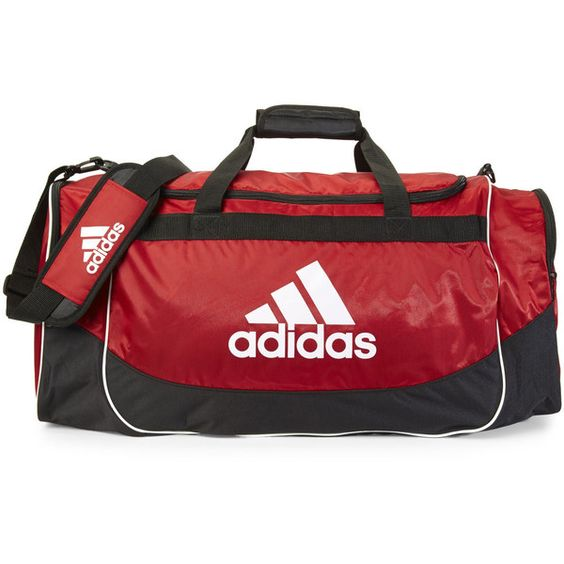 Adidas Red & Black Defense Large Duffel ($30) ❤ liked on Polyvore featuring bags, luggage and black