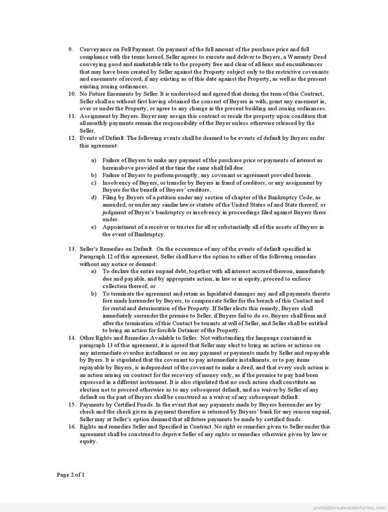 Printable Sample contract for deed Form Sample PDF Forms