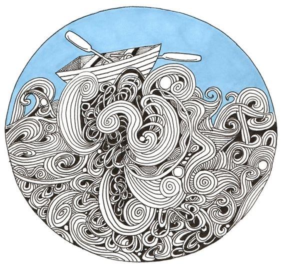Sea and sailing. Mandala and zentagle byRebeccaBorrelli