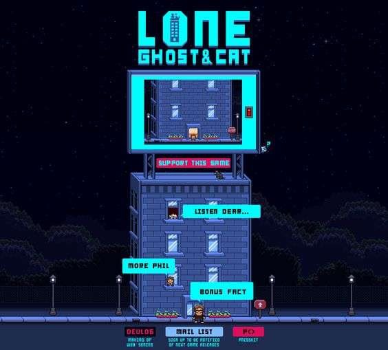 Webpage for my first game Lone Ghost & Cat. See more at PhilllChabbb.com :D ♥   #website #jQuery #css #webdesign #pixelart #indiedev #landingpage