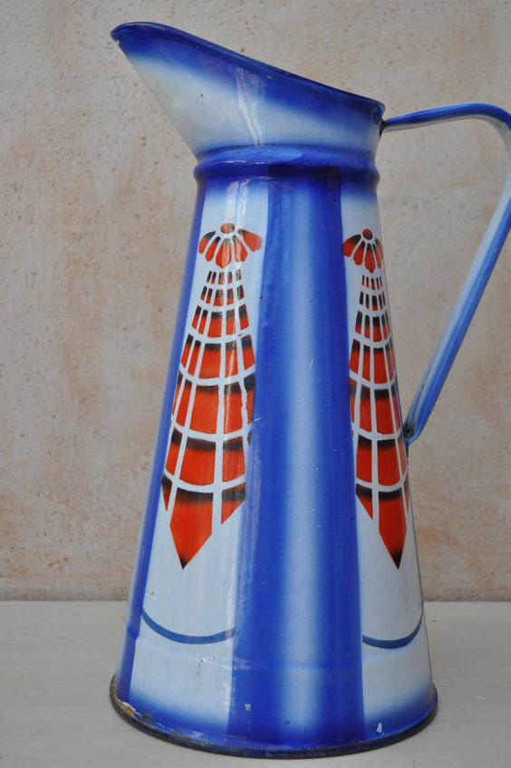 French Enamel Pitcher  Art Deco  Blue and Red by LaManche on Etsy