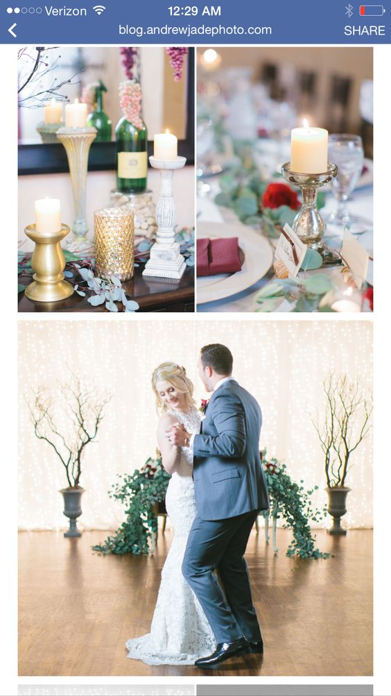 Sweetheart table on the dance floor. Eucalyptus runner by @petalsandlucy . Wooden table was rented from Primm Rentals.