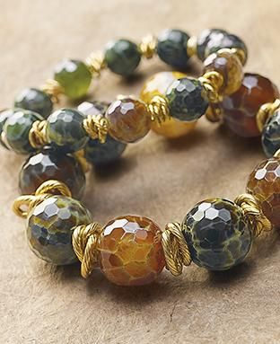 earth tone agates on the Merida Bracelet. Set off with intertwined brass links each stone is unique.