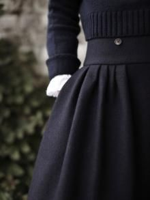 heavy gathered wool skirt with high waist, cropped sweater with ribbing