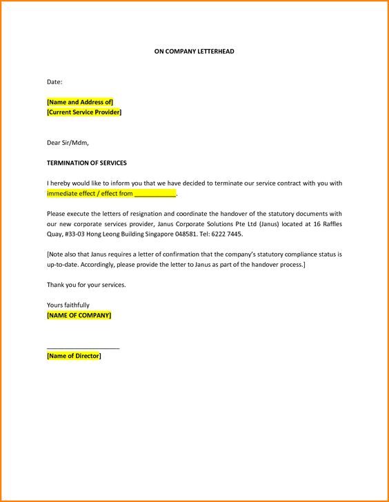 cancellation letter mom termination company employee job essay - handover note