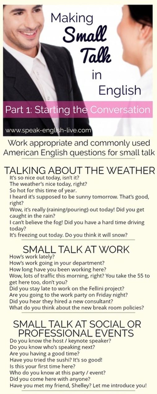 Making Small Talk in English (Part 1): Conversation Starters! Learn appropriate questions for work/social situations and more in American English. ...and sign up for a free American English pronunciation course here: www.calmenglish.com/join