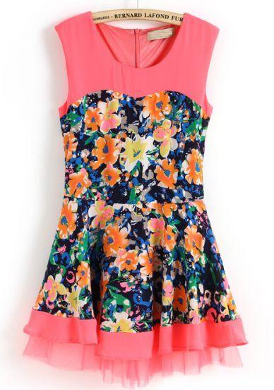Pink Blue Sleeveless Floral Ruffles Tank Dress