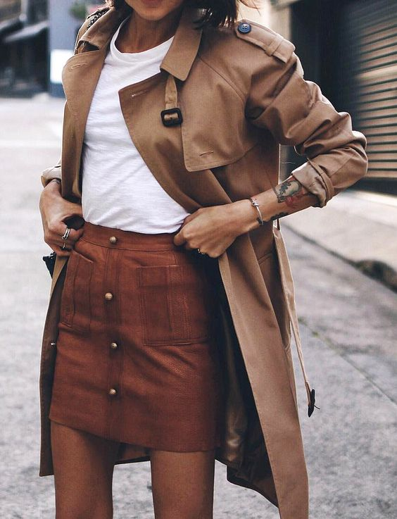 classic trench coat/ plain white tee / brown mini skirt